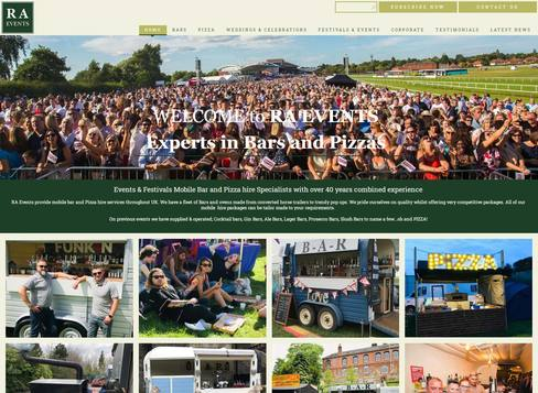 R A Events bespoke website design Leicester